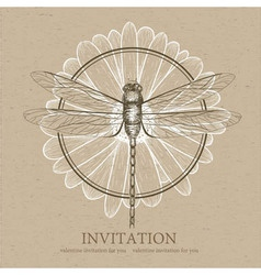 Dragonfly sketch invitation card vector