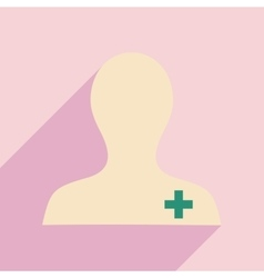 Flat with shadow icon and mobile application nurse vector