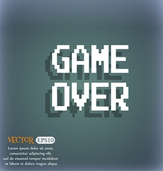 Game over concept icon on the blue-green abstract vector
