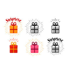Gift box surprise set of icons lettering vector