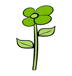 Green flower eco icon cartoon vector