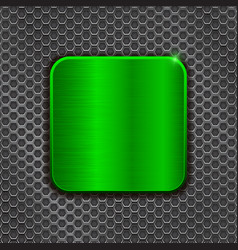green metal square plate on iron perforated vector image vector image