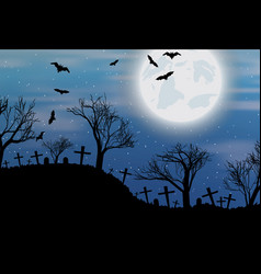 halloween background with cemetry bats and moon vector image