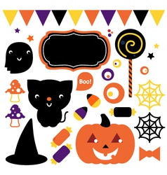 Halloween party set isolated on white vector image