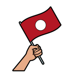 Hand holding flag of symbol national vector