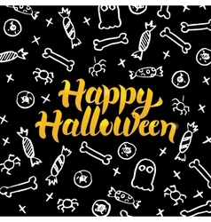 Happy halloween black gold postcard vector