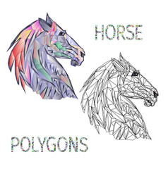 Horse head polygons coloured and outline vector