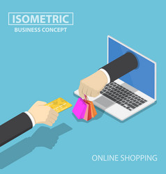 isometric businessman hand use credit card to vector image