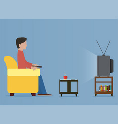 Man watching old television on sofa vector