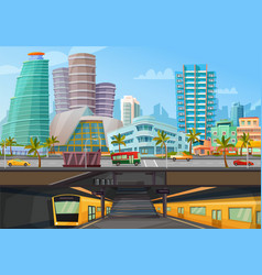Miami downtown metro rail poster vector