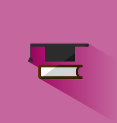 mortaboard with book icon on pink background vector image vector image