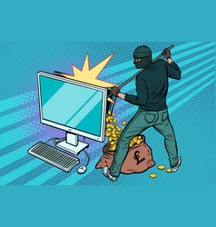 online hacker steals pound money from computer vector image vector image