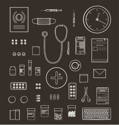 Outlined One Color Medical Symbols and Icons vector image