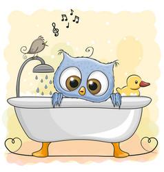 owl in the bathroom vector image vector image