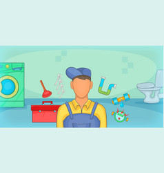 Plumber horizontal banner cartoon style vector