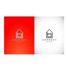 Real estate house monoline lineart logo icon vector image vector image