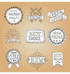 Set of hand drawn style badges and elements vector image vector image