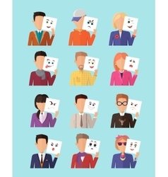 Set of People with Expression Emotions vector image