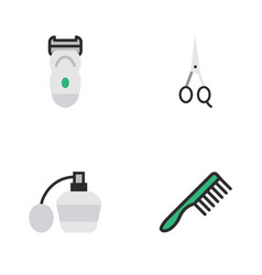 Set of simple barber icons elements scissors vector