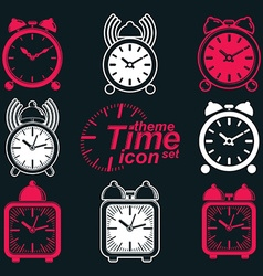 Squared 3d alarm clocks with clock bell decorative vector