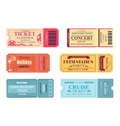 Tickets and admissions set vector