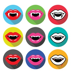 Vampire mouth vampire teeth flat design icons vector image vector image