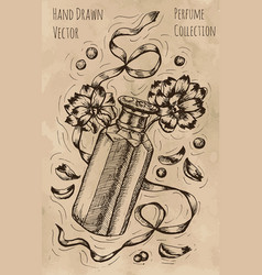 Vintage still life with perfume bottle vector