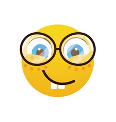 Yellow smiling cartoon face wear glasses positive vector