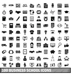 100 business school icons set simple style vector