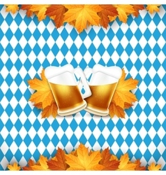 Oktoberfest  two beer mugs on vector