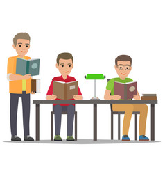 Student reading textbook in library flat vector