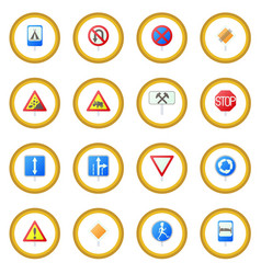Road sign set icon circle vector