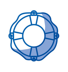 Blue shading silhouette of flotation hoop with vector