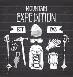 Mountain expedition vintage set hand drawn sketch vector
