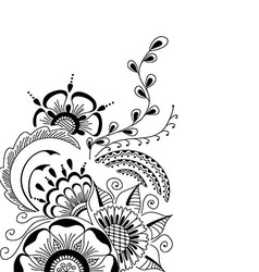 Hand-drawn cute abstract floral elements vector