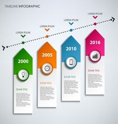 Time line info graphic with colored design arrows vector