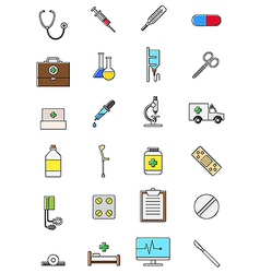 Colorful medicine icons set vector