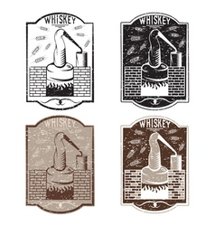 Grunge vintage labels of whiskey with copper vector