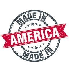 Made in america red round vintage stamp vector