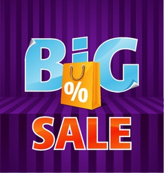 Big sale poster with paper bag vector