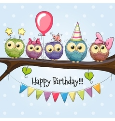 Five Cute Owls vector image
