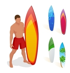 Man is standing with a surfboard in his hands vector