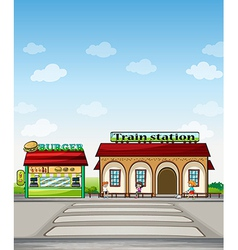 A burger junction and a train station vector image