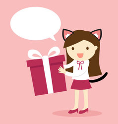 A girl wearing cat ears and tail holding gift box vector