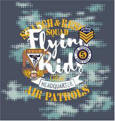 Air patrol flying kids crew vector