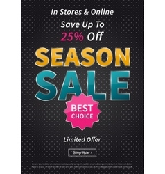 Banner Season Sale on black vector image vector image