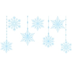 blue snowflakes isolated on white vector image vector image