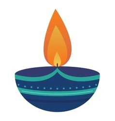 Burning wax candle in a stand flat vector image vector image