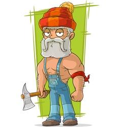 Cartoon old lumberjack in red cap vector image vector image
