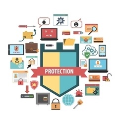 Computer protection security concept icons vector image vector image